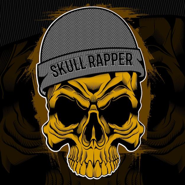 Рэппер череп дизайн футболки Premium векторы