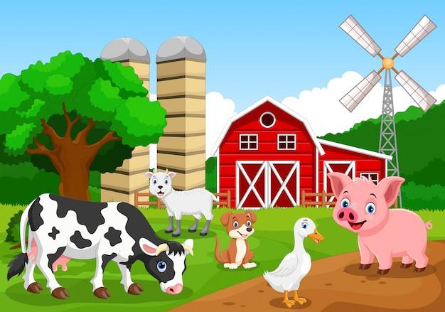 動物と農場の背景 Premiumベクター