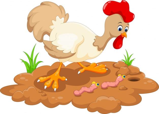Курица и два червя Premium векторы