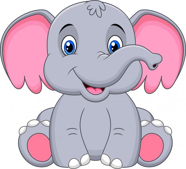 かわいい赤ちゃん象漫画 Premiumベクター