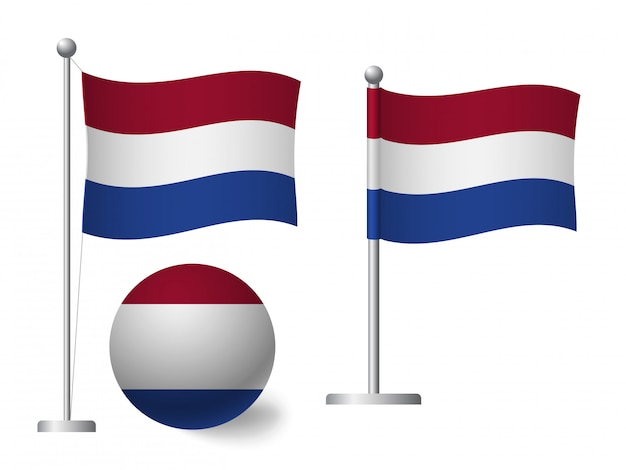 ポールとボールのアイコンにオランダの国旗 Premiumベクター