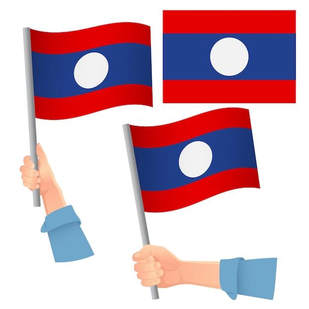 ラオスの旗を手にセット Premiumベクター