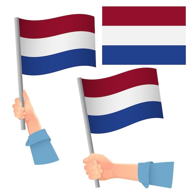 オランダの旗を手にセット Premiumベクター
