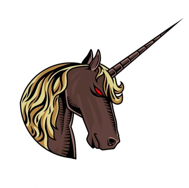 Единорог головы талисман логотип Premium векторы