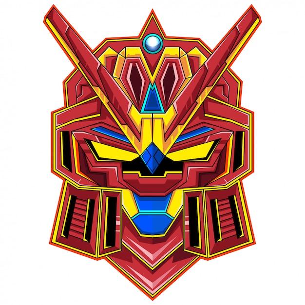 ロボットヘッドマスコットロゴ Premiumベクター