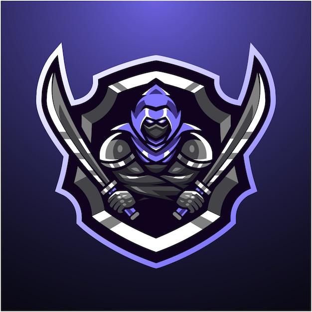 暗殺者のマスコットのロゴ Premiumベクター