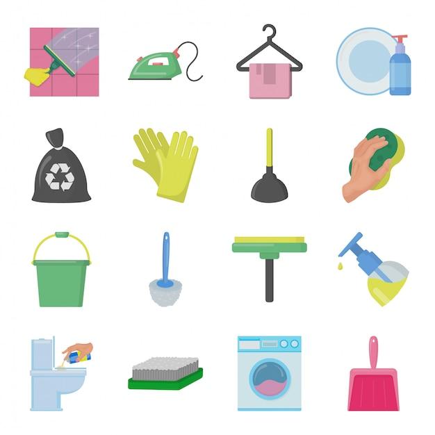 Набор чистящих сервисных элементов Premium векторы