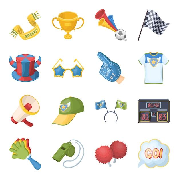 Элементы вентилятора и атрибутов мультфильма в наборе коллекции для дизайна. Premium векторы