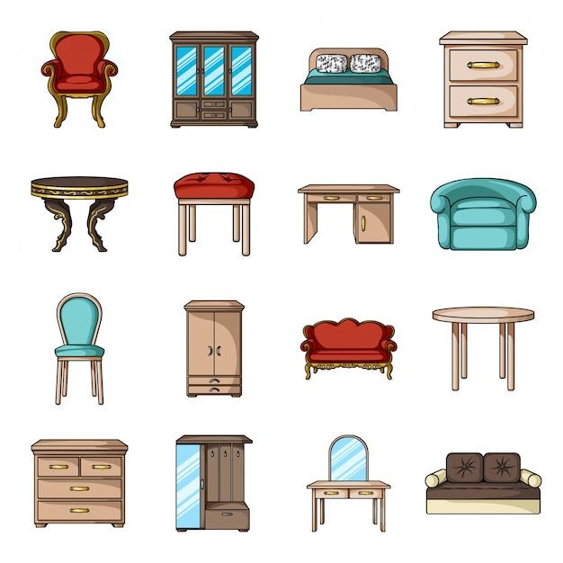 ホームインテリア漫画は、アイコンを設定します。孤立した漫画は、アイコンの家具を設定します。家具のイラストインテリア。 Premiumベクター