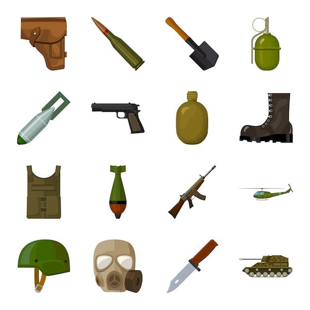 軍と軍の漫画は、アイコンを設定します。イラスト武器軍事。孤立した漫画は、軍隊のアイコン戦争を設定します。 Premiumベクター