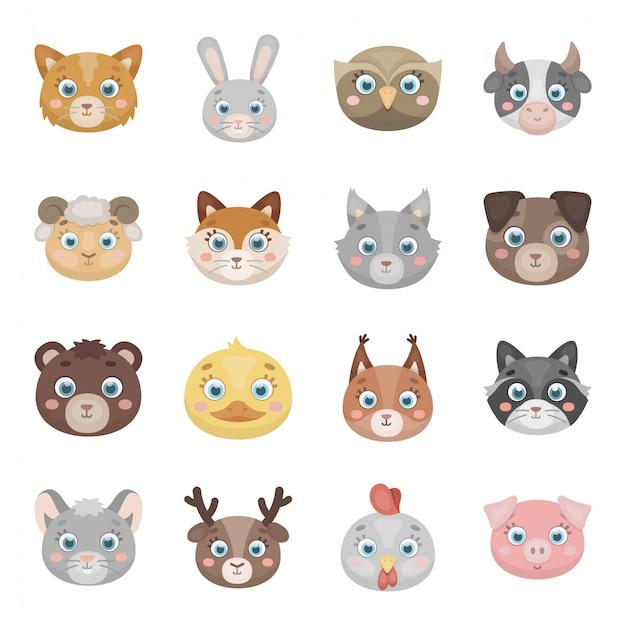 顔漫画の動物は、アイコンを設定します。動物分離漫画の頭は、アイコンを設定します。イラストの肖像画。 Premiumベクター