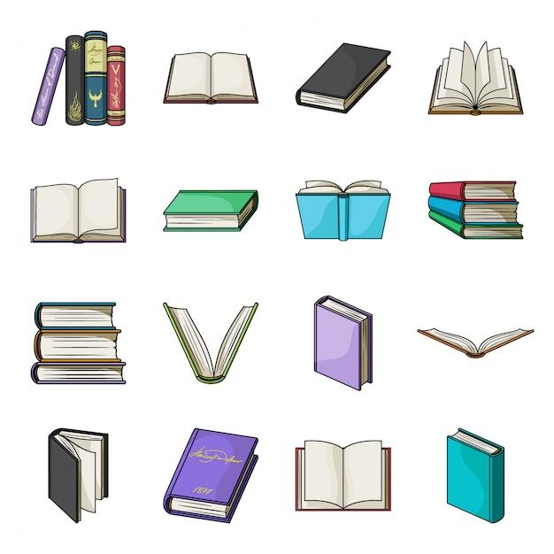 本漫画のアイコンを設定します。孤立した漫画は、アイコンライブラリ本を設定します。イラスト教科書。 Premiumベクター