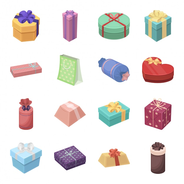 Подарок и сертификат мультфильм установить значок. иллюстрация рождественская коробка. изолированные мультфильм набор иконок подарок и сертификат. Premium векторы