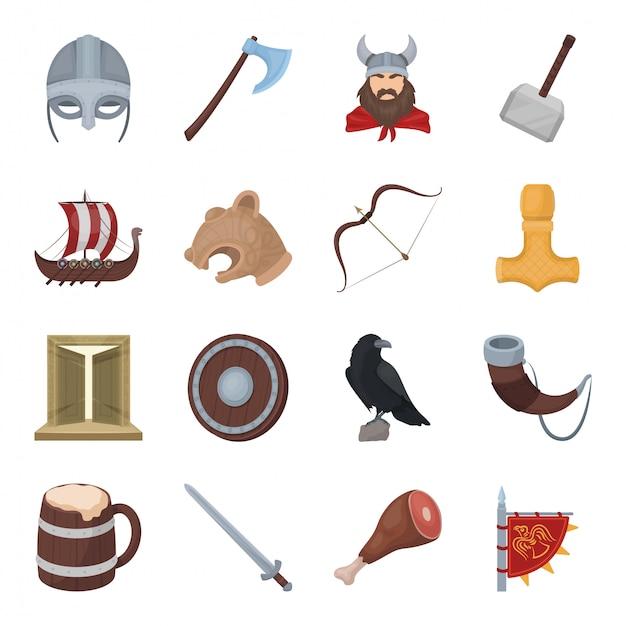 Викинг мультфильм установить значок. иллюстрация рыцарь оружие. изолированные мультфильм набор иконок викинг. Premium векторы