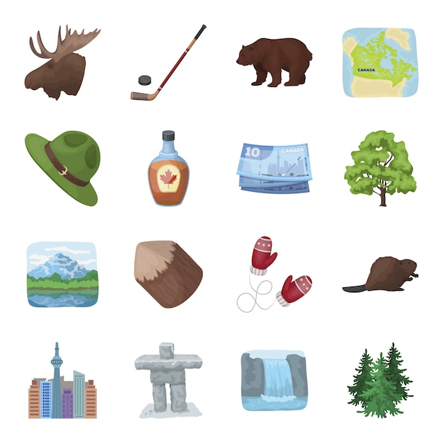 カナダ漫画のアイコンを設定します。カナダの旅行。孤立した漫画セットアイコンカナダ。 Premiumベクター