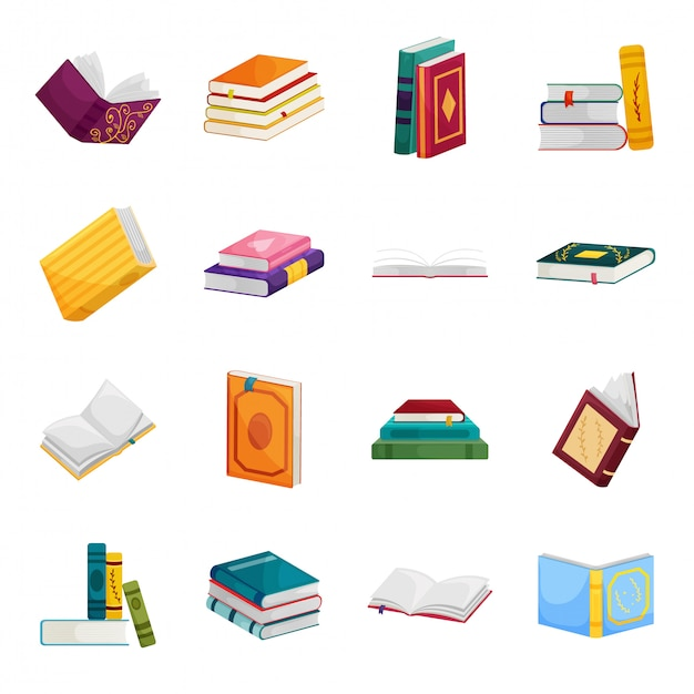 図書館漫画の本は、アイコンを設定します。孤立した漫画は、学校文学のアイコンを設定します。図書館の本。 Premiumベクター