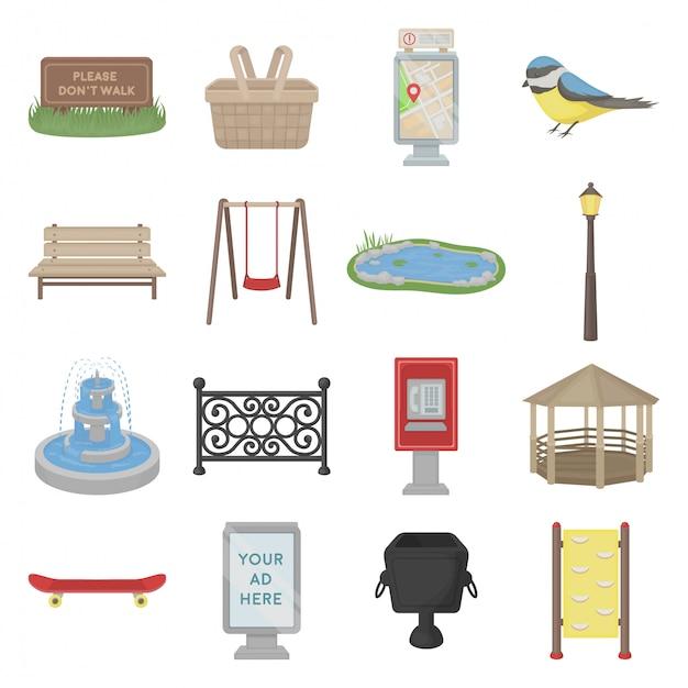 Городской парк мультфильм набор иконок Premium векторы