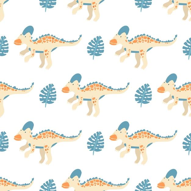 恐竜とモンステラの葉とのシームレスなパターンベクトル Premiumベクター