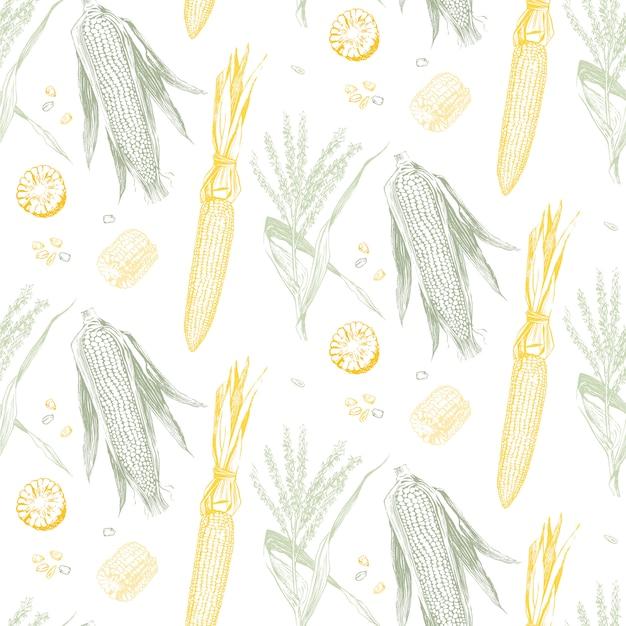 Кукуруза в початках старинный дизайн бесшовные модели. Premium векторы
