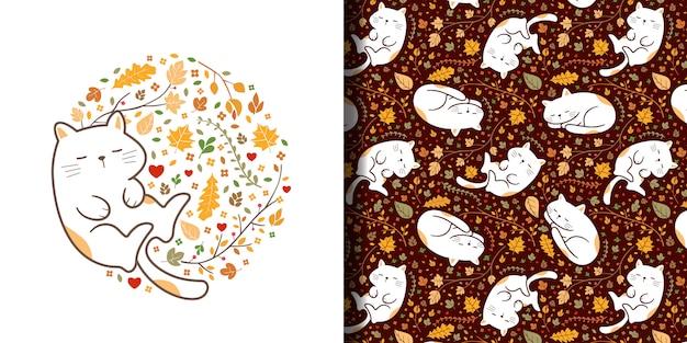 手描きかわいい眠っている猫のシームレスパターン Premiumベクター