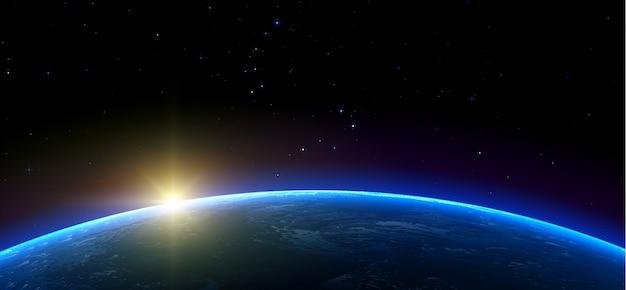 銀河。地球、太陽、宇宙空間の星。現実的な水平イラスト。 Premiumベクター