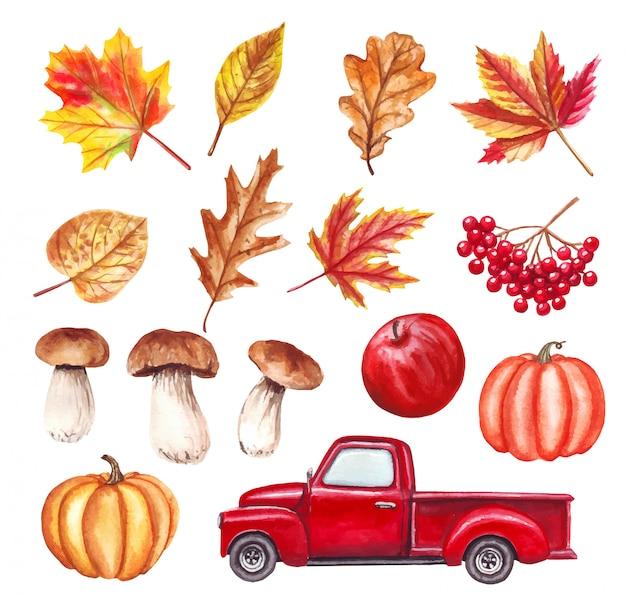 赤いトラック、葉、カボチャ、キノコ、リンゴ、秋のヤール入り水彩秋 Premiumベクター