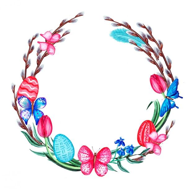 花、猫の柳、蝶、羽、卵と水彩の春のイースターリース。白い背景で隔離されました。 Premiumベクター
