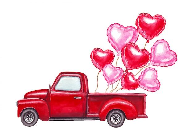 水彩のバレンタインの日は、赤とピンクのハート型の風船で赤いレトロな車のイラストを描いた Premiumベクター