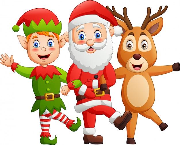 面白い漫画のキャラクター、サンタクロース、鹿、エルフ、ダンススタイル。 Premiumベクター