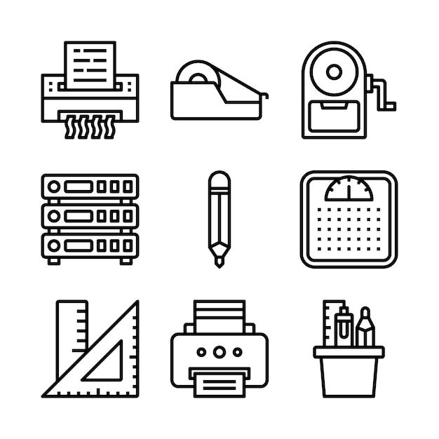 Простой набор офисных связанных векторных иконок линии. Premium векторы