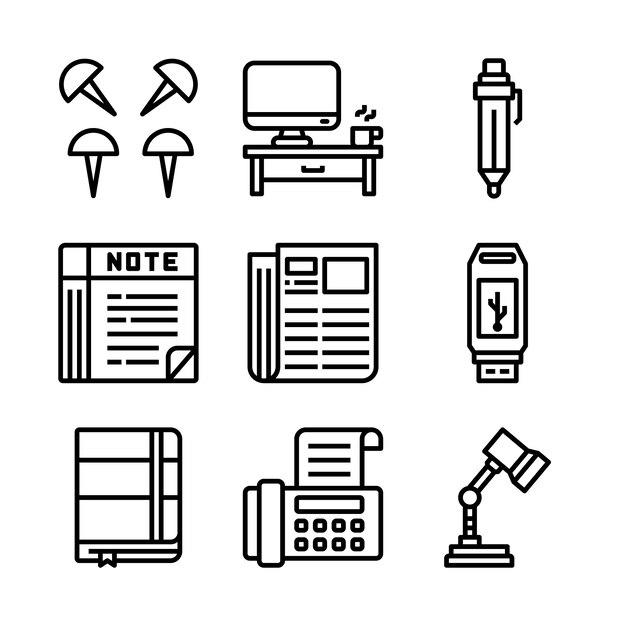 オフィスの単純なセット関連ベクトル線アイコン。 Premiumベクター