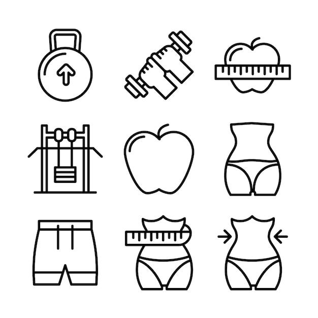 フィットネスとスポーツのアイコンを設定します。健康的なライフスタイルのシンボル。 Premiumベクター