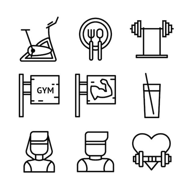 Установленные значки фитнеса и спорта. символы здорового образа жизни. Premium векторы
