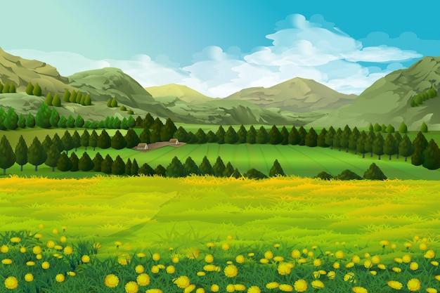 Весенний пейзаж Premium векторы