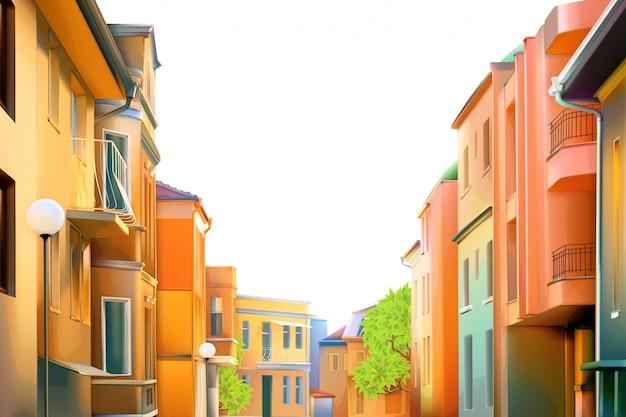 都市景観、地方の町の典型的な住宅街、イラスト、背景の居心地の良い家、素敵な晴れた日の美しい街の景色 Premiumベクター