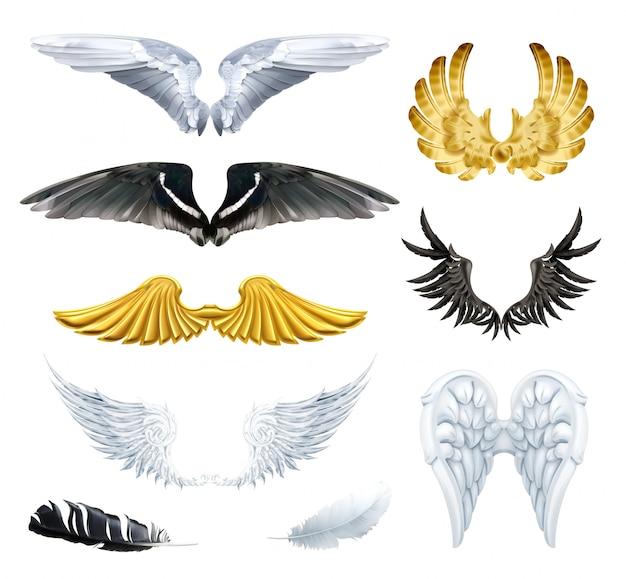 翼、セットのイラスト Premiumベクター