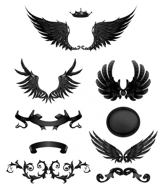 黒い翼を持つ要素をデザイン、ベクトルのアイコンを設定 Premiumベクター