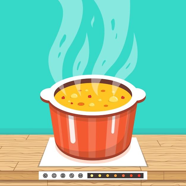 蒸気でストーブの鍋 Premiumベクター