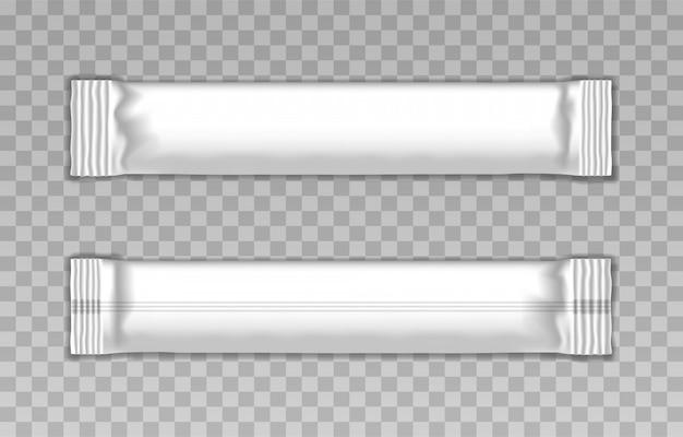 Пустой шаблон белой упаковочной палочки Premium векторы
