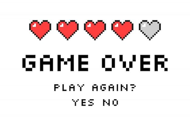 Игра окончена. пиксель арт. стиль ретро игры Premium векторы