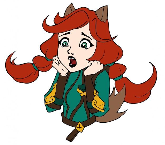 おびえたかわいい漫画の女の子。アニメの女の子。フラットな色と輪郭。白い背景に分離します。 Premiumベクター