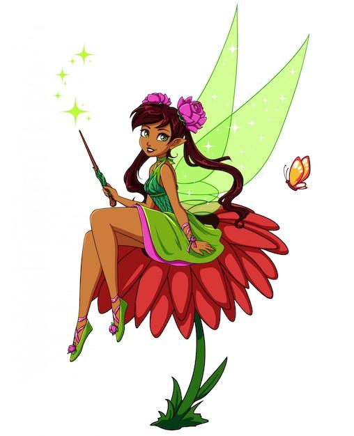 花の上に座ってかわいい漫画の妖精。緑のドレスを着ている茶色のポニーテールの女の子。手描きのベクトル図。 Premiumベクター