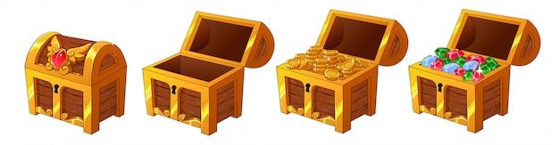 Набор деревянных золотых сундуков с монетами и бриллиантами для игрового интерфейса. Premium векторы