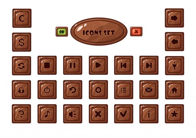 モバイルゲームの正方形の木製ボタンセット Premiumベクター