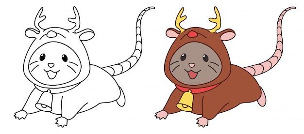 鹿の衣装を着てかわいいマウス。白い背景で隔離の輪郭ベクトル図。 Premiumベクター