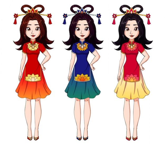 中国の伝統的なドレスを着ているかわいい漫画の女の子。 Premiumベクター