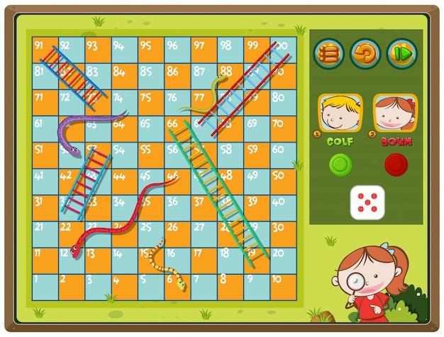 少年と少女とのヘビとはしごゲーム Premiumベクター