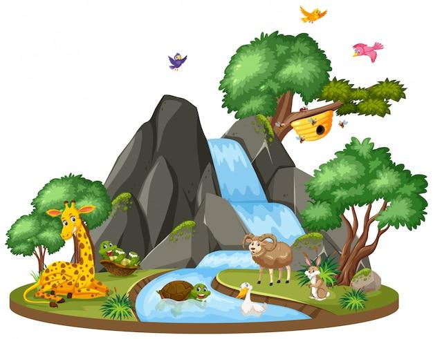 滝のそばの野生動物の背景シーン Premiumベクター