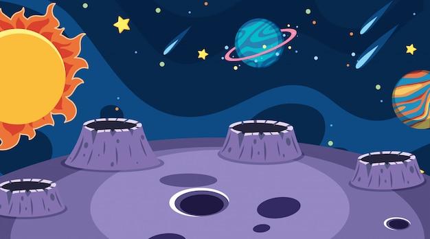 暗い空間で惑星のある風景の背景 Premiumベクター