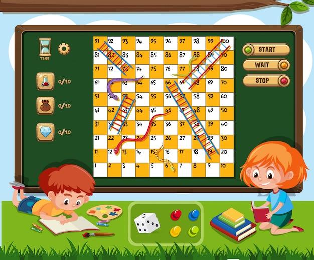 Настольная игра с двумя детьми, чтение книги на траве Premium векторы